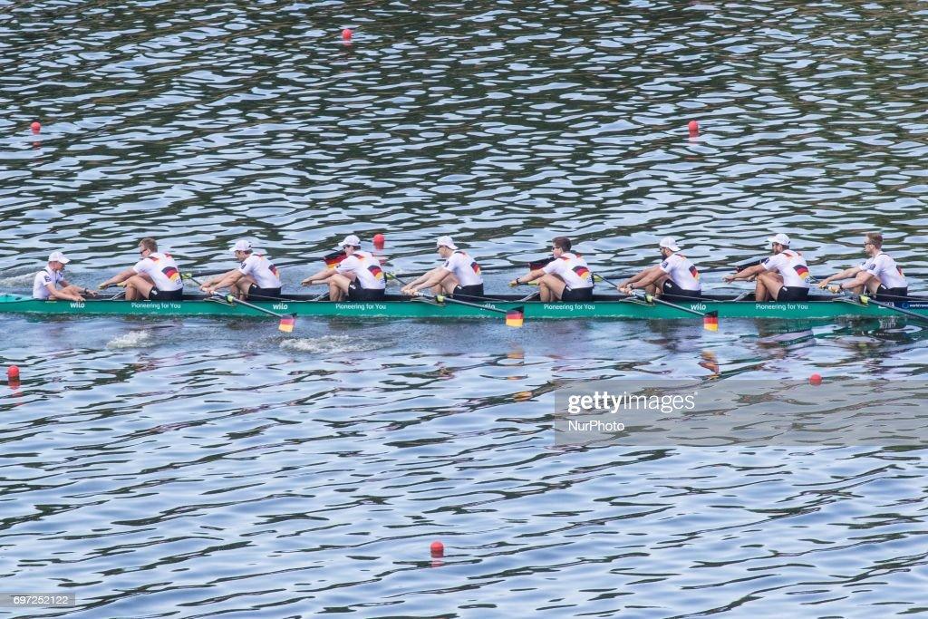 Johannes Weisselfeld, Felix Wimberger, Maximilian Planer, Torben Johannesen, Jakob Schneider, Malte Jakschik, Richard Schmidt, Hannes Ocik, Martin Sauer (GER) M8+ during the final day of the 2017 World Rowing World Cup in Poznan, Poland, on 18 June 2017.