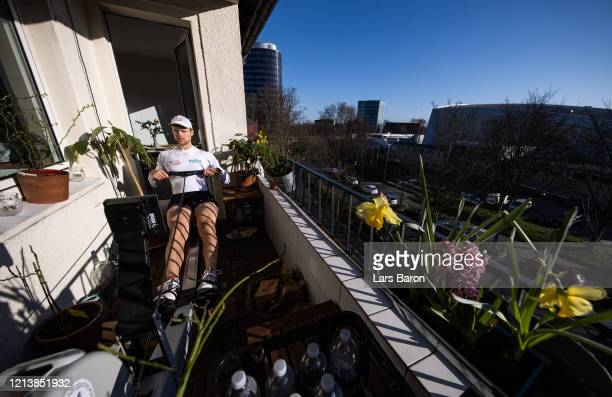 Johannes Weissenfeld member of the german rowing eight trains on the balcony of his apartment on March 21 2020 in Dortmund Germany As the number of...