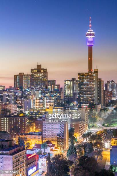 johannesburg city panorama with the communications tower - south africa stock pictures, royalty-free photos & images