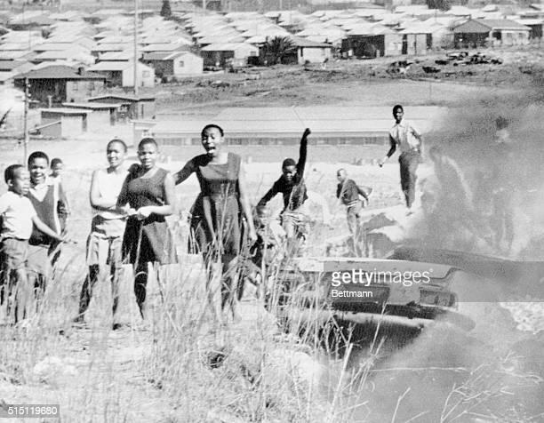 Johannesburg; Demonstrating school children in black suburb of Soweto, outside Johannesburg, shouting black power slogans in third day of...