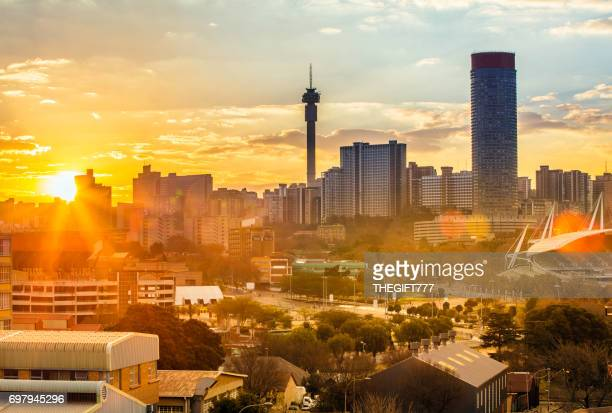 johannesburg evening cityscape of hillbrow - gauteng province stock pictures, royalty-free photos & images