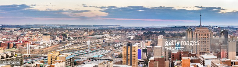 Johannesburg Panorama And Nelson Mandela Bridge Stock ...