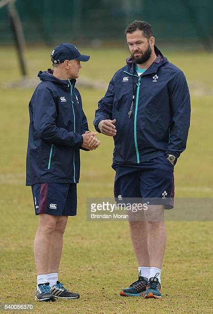 Johannesburg South Africa 14 June 2016 Ireland head coach Joe Schmidt left with defence coach Andy Farrell during squad training at St David Marist...