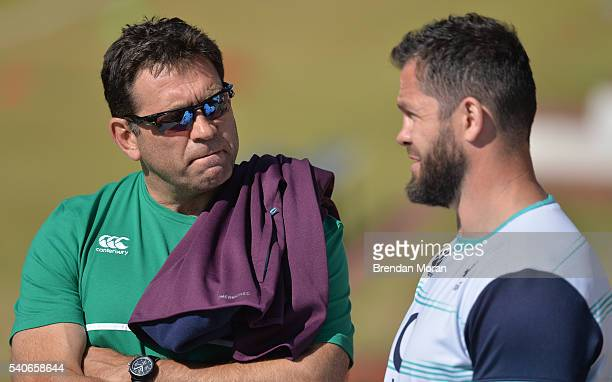 Johannesburg South Africa 16 June 2016 IRFU Performance Director David Nucifora left with defence coach Andy Farrell during squad training at St...