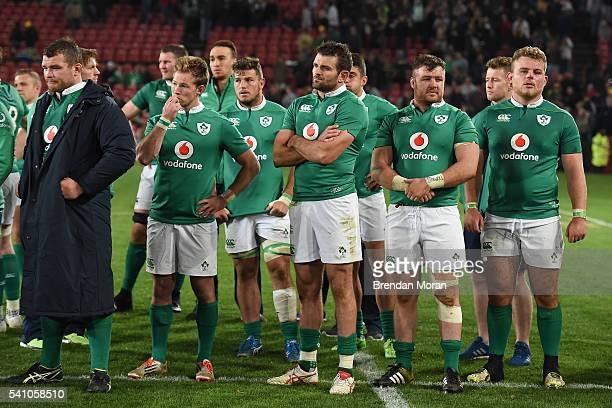 Johannesburg , South Africa - 18 June 2016; Dejected Ireland players, from left, Jack McGrath, Kieran Marmion, Sean Reidy, Jared Payne Dave Kilcoyne...