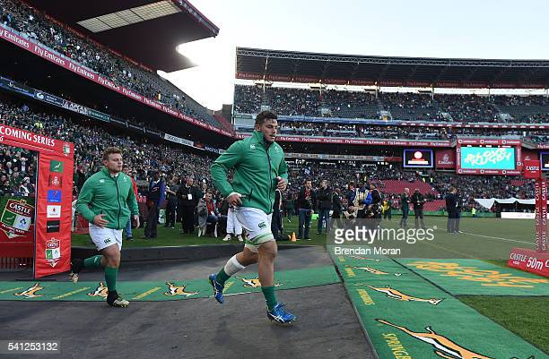 Johannesburg , SOUTH AFRICA - 18 June 2016; Finlay Bealham left, and Sean Reidy of Ireland run onto the pitch before the Castle Lager Incoming Series...