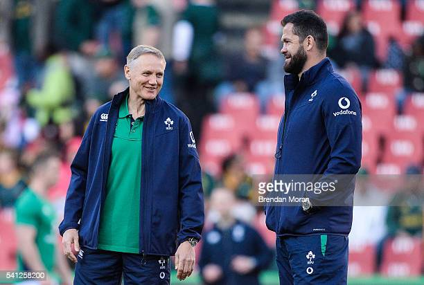Johannesburg SOUTH AFRICA 18 June 2016 Ireland head coach Joe Schmidt left with defence coach Andy Farrell during the Castle Lager Incoming Series...