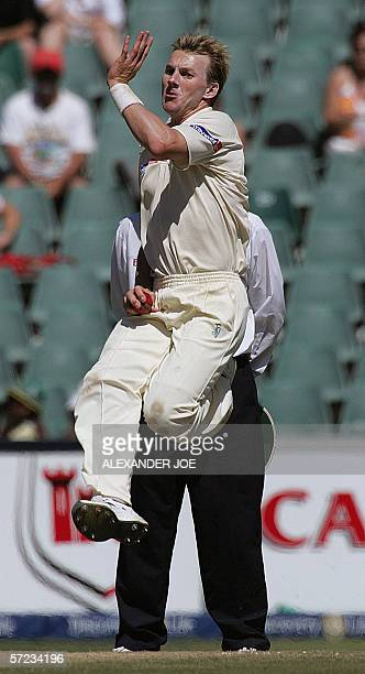 Australian bowler Brett Lee delivers a ball to South Africa's batsman Herschelle Gibbs later caught out for 53 runs 02 April 2006 during South...