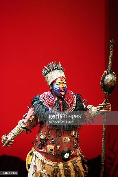 Buyisile Zama performs 05 June 2007 as Rafiki the sangoma monkey in The Lion King the awardwinning rites of passage musical based in the heart of the...