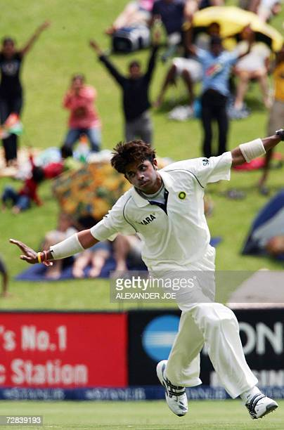 India's Shanthakumaran Sreesanth celebrates dismissing South Africa's opening batsman Graeme Smith out for 10 runs during South Africa's 2nd innings...