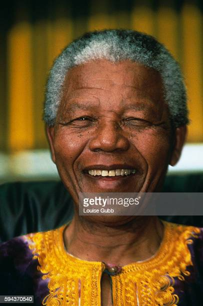 Johannesburg South Africa Nelson Mandela portrait Former President of South Africa and longtime political prisoner held by the Apartheid based...