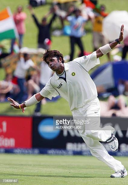 Sir Sreesanth of India celebrates dismissing South Africa's opening batsman Graeme Smith out for 10 runs 17 December 2006 on the third day of the...