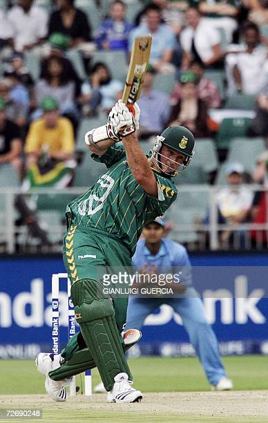 South African captain and batsman Graeme Smith hits a four 01 December 2006 during the Pro 20/20 cricket match against India at Wanderers stadium in...
