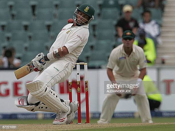 South Africa's batsman and captain Jacques Kallis ducks a bouncer bowled by Australian Brett Lee on the first day of the Third 5day Test in...