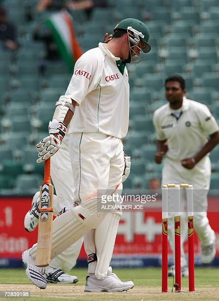 South Africa's opening batsman Graeme Smith reacts after going out for 10 runs by Shanthakumaran Sreesanth during South Africa's 2nd innings 17...
