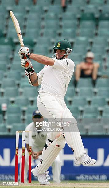 South Africa's opening batsman Graeme Smith before going out for 10runs by Sir Sreesanth 17 December 2006 on the third day of the first Test at the...