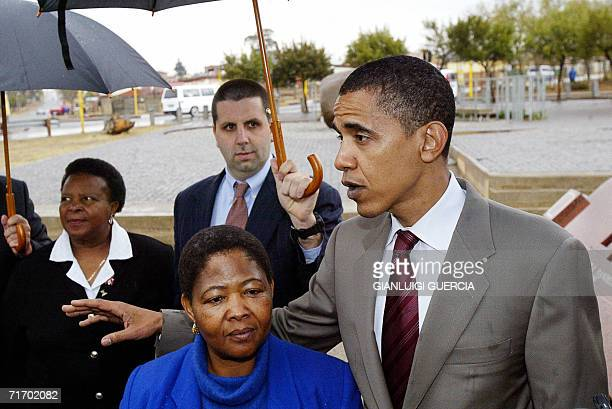 US senator for Illinois Barak Obama visits Hector Pieterson Museum in Soweto Johannesburg guided by Pieterson's sister Antoinette Sitole 23 August...