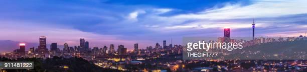 Johannesburg sunset cityscape panaroma with cloudscape
