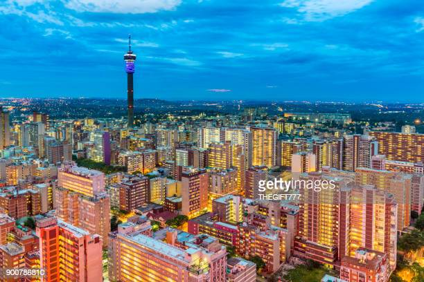 johannesburg sunset cityscape with hillbrow tower - gauteng province stock pictures, royalty-free photos & images