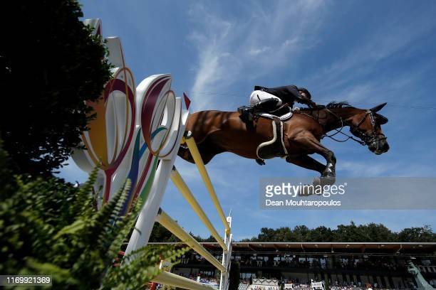 Johan-Sebastian Gulliksen of Norway riding Exit Of Ice Z competes during Day 5 of the Longines FEI Jumping European Championship, Round 2 Team Final,...