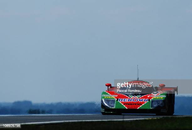 Johhny Herbert drives the Mazdaspeed Mazda 787B 002 during the FIA World Sportscar Championship 24 Hours of Le Mans race on 23 June 1991 at the...