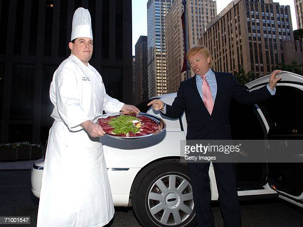 John a Donald Trump impersonator and Embassy Suites Battery Park Hotel Chef Scott Gorman pose with The Domelet outside Trump Tower on May 21 2006 in...
