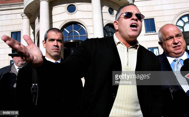John A Junior Gotti center son of the late Gambino family crime boss speaks after a hearing on his tax payment status outside the Federal Court House...