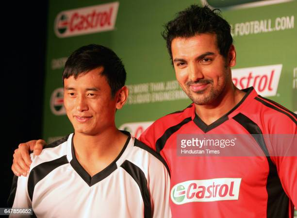 John Abraham and Bhaichung Bhutia at a press conferece to unveil Castrols exciting plans for football fans for the forthcoming 2010 FIFA World Cup at...