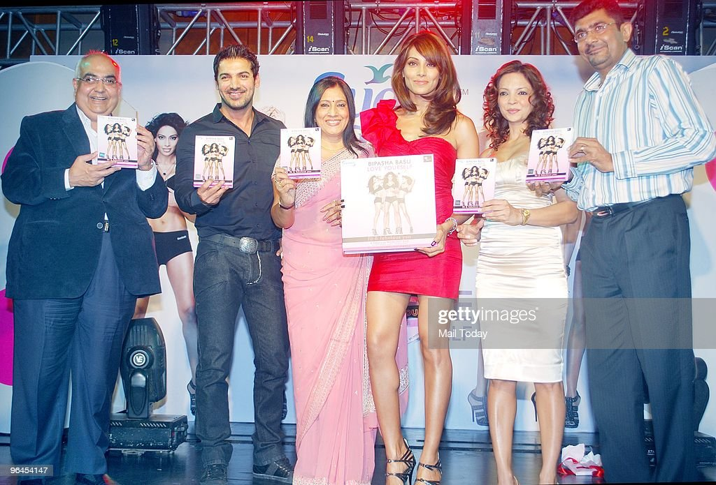 John Abraham Bipasha Basu`s mother with the actress and fitness expert Dianne Pandey at the launch of actress Bipasha Basu`s fitness DVD in Mumbai on.
