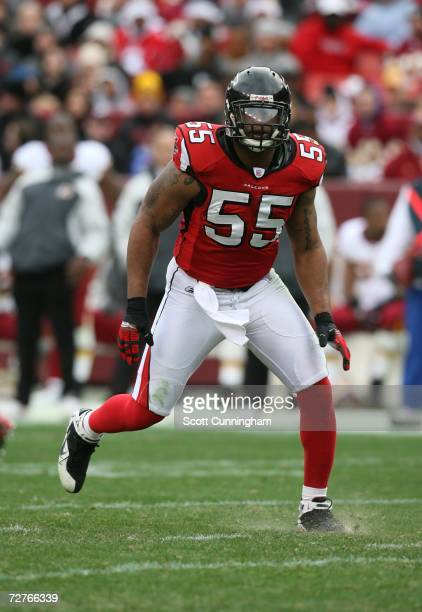 John Abraham of the Atlanta Falcons defends against the Washington Redskins at the FedEx Field on December 3 2006 in Landover Maryland The Falcons...