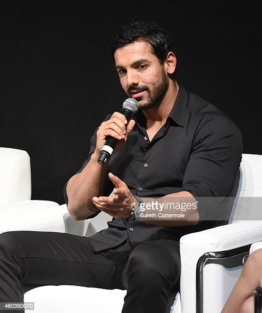 John Abraham on stage during the Welcome Back In Conversation on day three of the 11th Annual Dubai International Film Festival held at the Madinat...