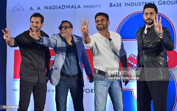 John AbrahamParesh RawalSunil Shetty and Abhishek Bachchan at the announcement ceremony of Hera Pheri 3