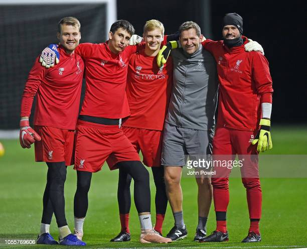 John Achterberg first team goalkeeping coach of Liverpool with Simone MignoletKamil Grabara Caoimhin Kelleher and Alisson Becker goalkeepers of...