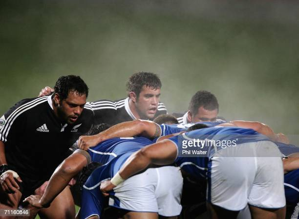 John Afoa and Corey Flynn of the Junior All Blacks pack down for the scrum as steam rises during the Pacific Five Nations game between the Junior All...