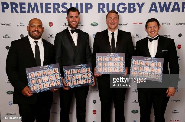 John Afoa Cobus Reinach Alex Dombrandt and Alex Goode accept the BT Sport Dream Team award on behalf of all of the team during the Gallagher...