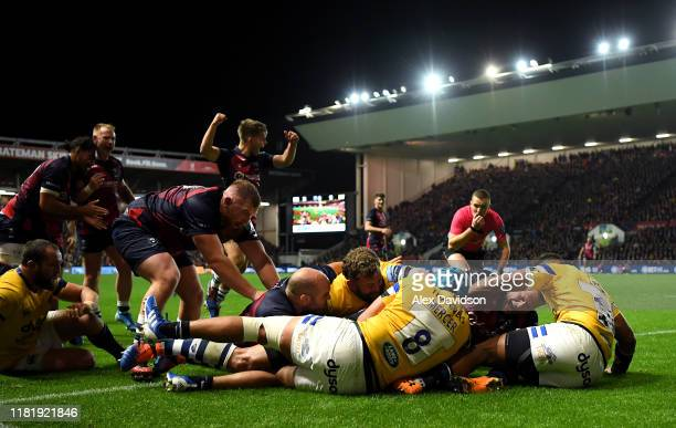 John Afoa of Bristol Bears drives over to score his sides fifth try during the Gallagher Premiership Rugby match between Bristol Bears and Bath Rugby...