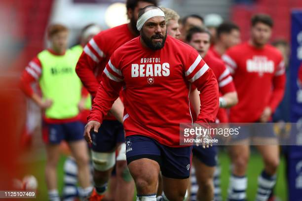 John Afoa of Bristol Bears during the warm up during the Premiership Rugby Cup match between Bristol Bears and Exeter Chiefs at Ashton Gate on...