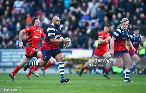 John Afoa of Bristol Bears makes a break through during the Gallagher Premiership Rugby match between Bristol Bears and Saracens at Ashton Gate on...