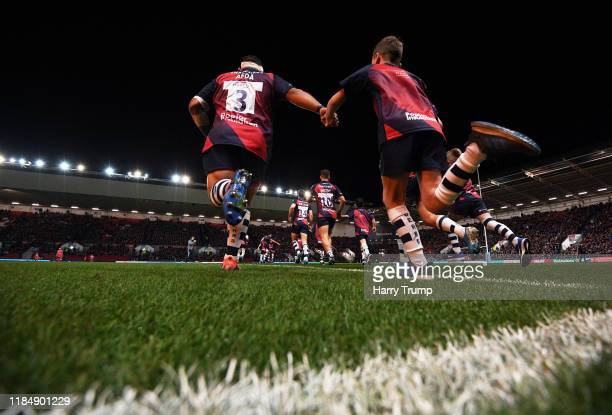 John Afoa of Bristol Bears makes his way out for the start during the Gallagher Premiership Rugby match between Bristol Bears and Sale Sharks at...