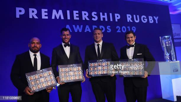 John Afoa of Bristol Bears Mark Atkinson of Gloucester Alex Dombrandt of Harlequins and Alex Goode of Saracens four players in the BT Sport Dream...