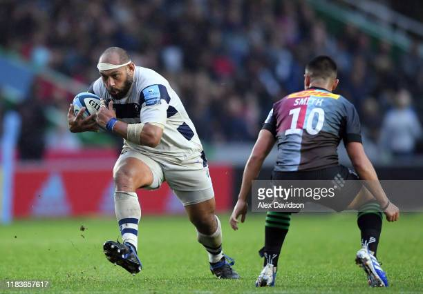 John Afoa of Bristol Bears takes on Marcus Smith of Harlequins during the Gallagher Premiership Rugby match between Harlequins and Bristol Bears at...