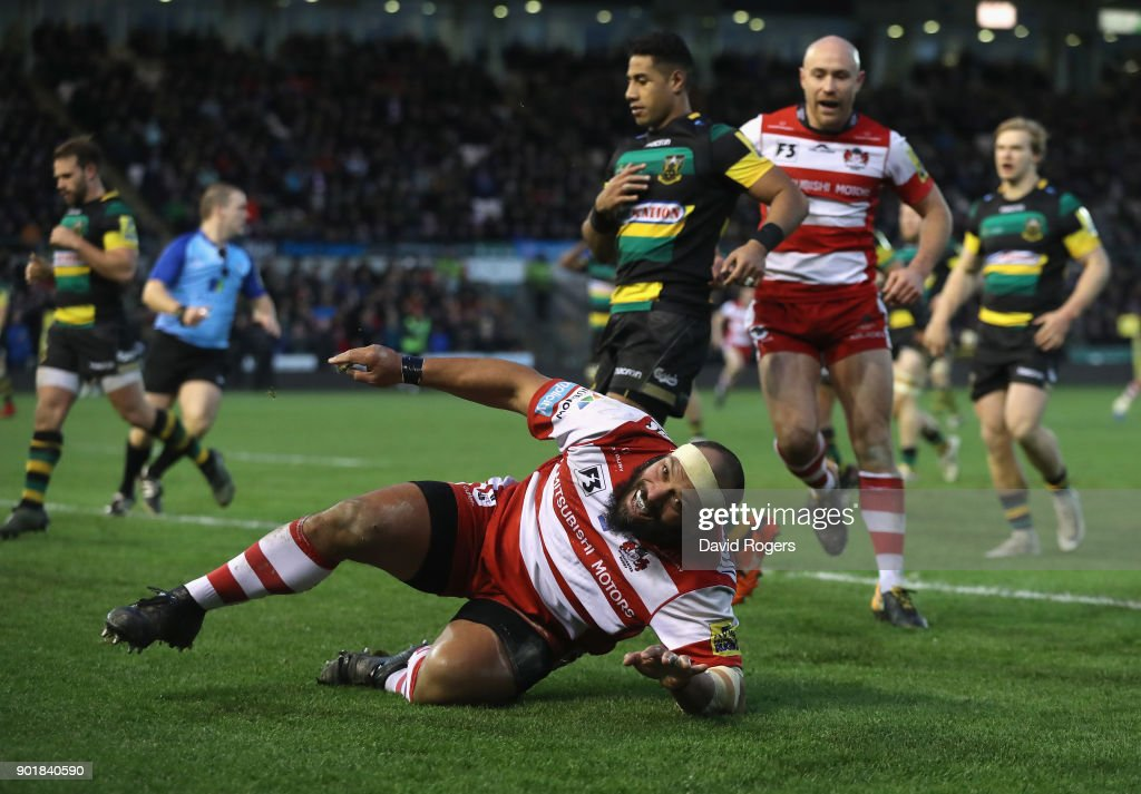 John Afoa of Gloucester celebrates after scoring his second try during the Aviva Premiership match between Northampton Saints and Gloucester Rugby at Franklin's Gardens on January 6, 2018 in Northampton, England.