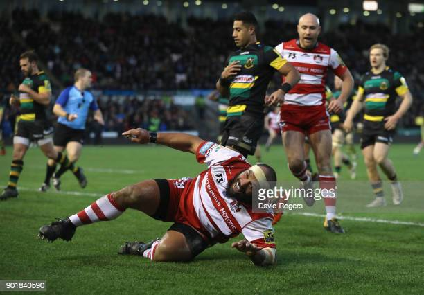 John Afoa of Gloucester celebrates after scoring his second try during the Aviva Premiership match between Northampton Saints and Gloucester Rugby at...