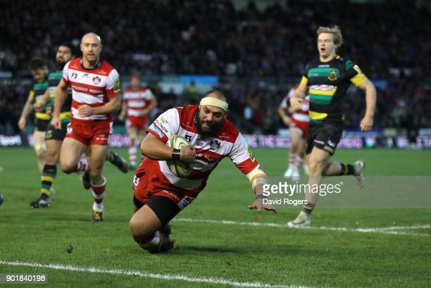 John Afoa of Gloucester dives to score his second try during the Aviva Premiership match between Northampton Saints and Gloucester Rugby at...