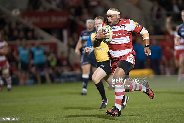 John Afoa of Gloucester in action during the Aviva Premiership match between Sale Sharks and Gloucester at the AJ Bell Stadium on September 16 2016...