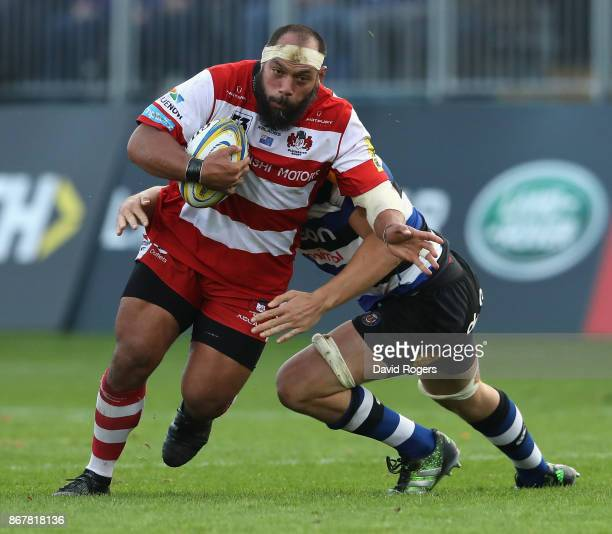 John Afoa of Gloucester is tackled during the Aviva Premiership match between Bath Rugby and Gloucester Rugby at the Recreation Ground on October 29...