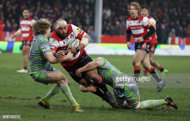 John Afoa of Gloucester is tackled during the Aviva Premiership match between Gloucester Rugby and Newcastle Falcons at Kingsholm Stadium on March 3...