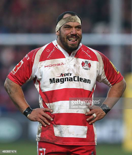 John Afoa of Gloucester looks on during the Aviva Premiership match between Gloucester and Wasps at Kingsholm Stadium on December 28 2014 in...