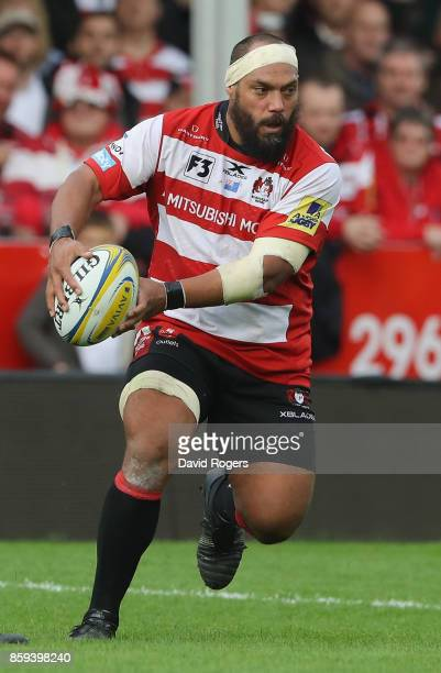 John Afoa of Gloucester runs with the ball during the Aviva Premiership match between Gloucester Rugby and Northampton Saints at Kingsholm Stadium on...