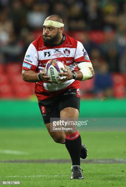 John Afoa of Gloucester runs with the ball during the European Rugby Challenge Cup Final match between Cardiff Blues v Gloucester Rugby at San Mames...